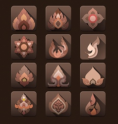 Flat design thai art pattern icon set vector