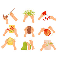 flat set of different hobbies painting vector image
