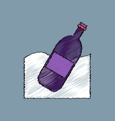 Flat shading style icon bottle in the ground vector