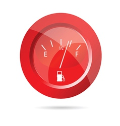 Fuel gauge red icon vector