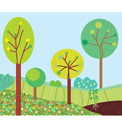 Funny garden landscape with trees vector