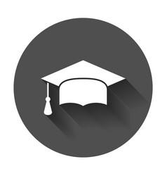 graduation cap flat design icon finish education vector image