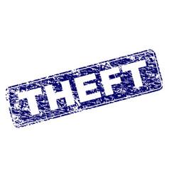 Grunge theft framed rounded rectangle stamp vector