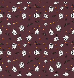 Hallowen pattern black bats white ghost and vector