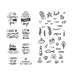 Hand-drawn quotes about sea ocean summer vector