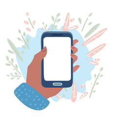 hand holding cell phone blank on white screen vector image