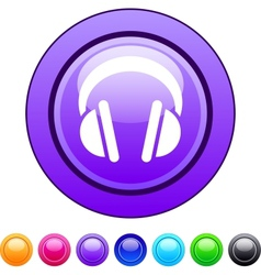 Headphones circle button vector image