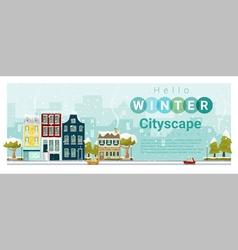 Hello winter cityscape background 3 vector