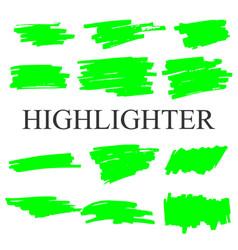 Highlighter set strokes on white background vector