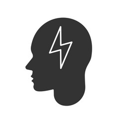 human head with lightning bolt glyph icon vector image
