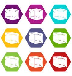 Ice icon set color hexahedron vector