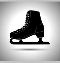 ice skate silhouette black icon vector image