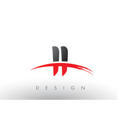 ii i i brush logo letters with red and black vector image