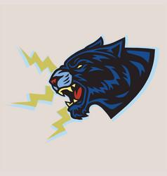 Jaguar black tiger roar vintage logo mascot vector