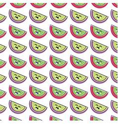 Kawaii cute happy apple fruit background vector