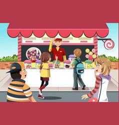 Kids buying candy vector