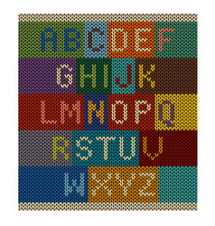 knitted letter set font on knit background vector image