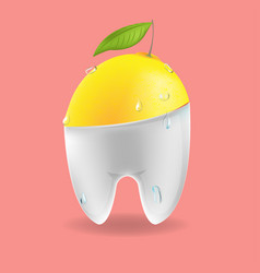 lemon tooth mixed dental symbol vector image vector image