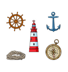 Lighthouse anchor compass rope steering wheel vector