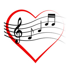 logo icon heart with notes and treble clef vector image