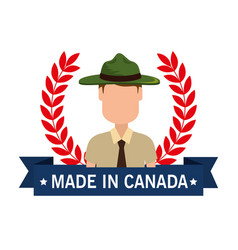 Made in canada seal with ranger forest vector