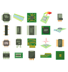 Micro chip icon set cartoon style vector