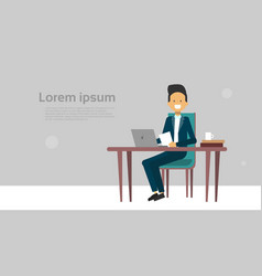modern business man working on laptop computer sit vector image