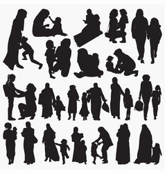 muslim mother and child silhouettes vector image