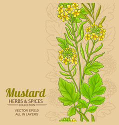 Mustard plant pattern on color background vector