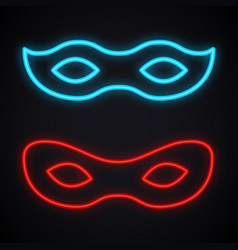 Neon mask sign glowing costume party bright vector