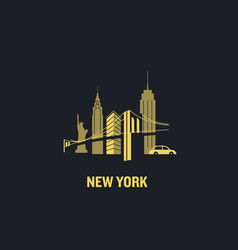 new york city skyline flat de vector image