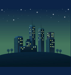 Nighttime atmosphere in city vector