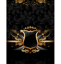 ornate frame with sabers vector image