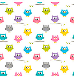 pattern with colorful owls vector image