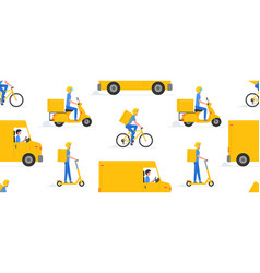 pattern with online delivery service vector image