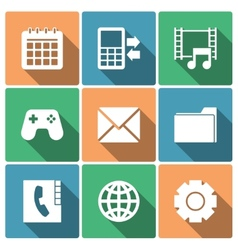 Phone menu icons with long shadows vector