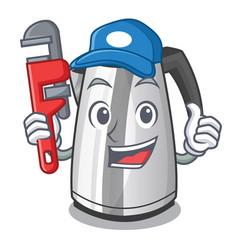 Plumber mascot cartoon household kitchen electric vector