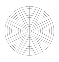 Polar grid of 10 concentric circles and 90 degrees vector
