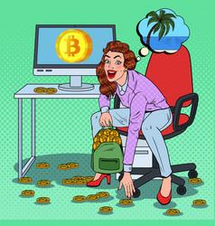 Pop art happy woman put bitcoins in backpack vector