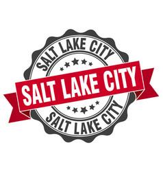 Salt lake city round ribbon seal vector