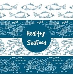 Seafood seamless borders set vector