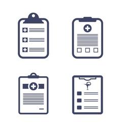 Set medical records clipboard vector