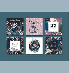 set of abstract creative cards vector image