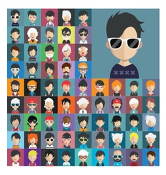 Set of people icons in flat style with faces 18 a vector image vector image