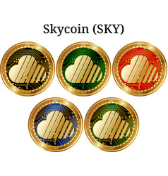 Set of physical golden coin skycoin sky vector