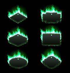 Set of six frames surrounded with green flame vector