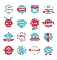 Set retro labels stickers badges vector