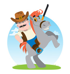 Sheriff man on a horse cowboy rodeo wild west vector