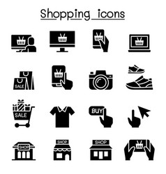 shopping on line icon set vector image
