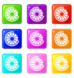Sign incomplete download icons 9 set vector